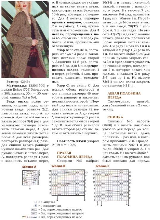 Описание вязания кардигана рисунок соты спицами 7