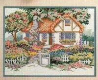 """Схема вышивки  """"Дом в саду """": таблица цветов."""