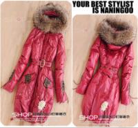 Женское пуховое пальто с енотовым мехом.