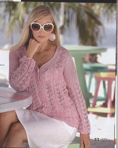 Нежная ажурная розовая кофточка связана спицами. . Схема вязания кофты спицами