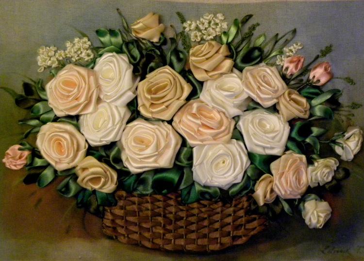 Вышивка лентами цветы в корзине фото 81