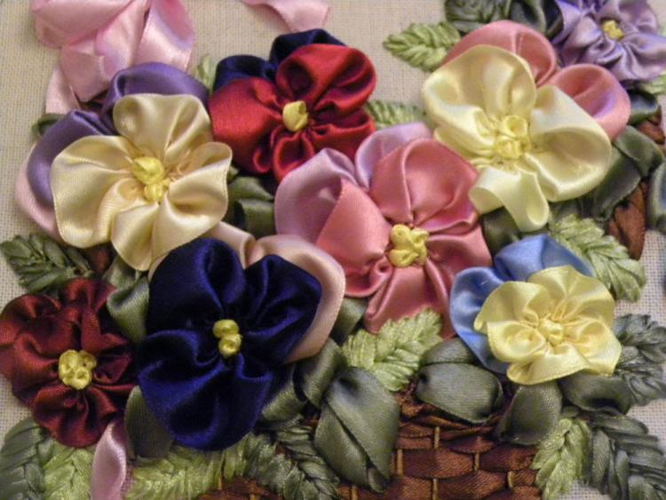 Лент атласные для вышивки