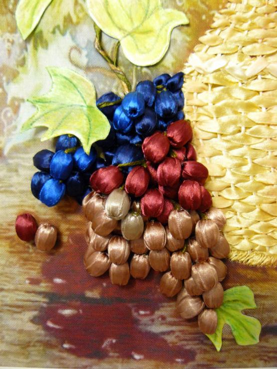 Виноград вышивка лентами 21