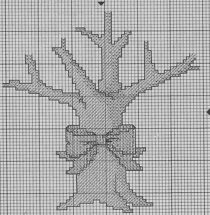 Схему вышивки крестом деревья