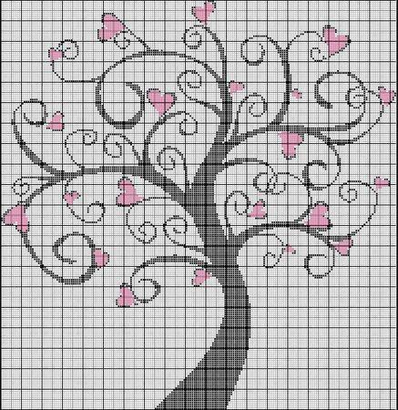 """Дерево любви"" схема вышивки."
