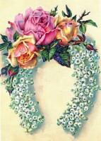 10. Марка нитей. роза. розы. подкова.  DMC, 80 цветов. цветы.  Теги. букет.  223x300 крестов.  Подкова на удачу.
