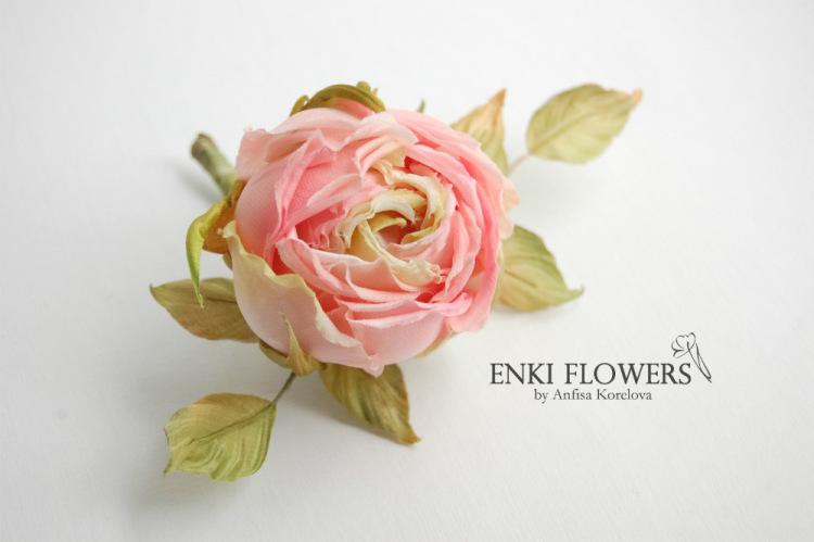 Цветок из шелка своими руками фото