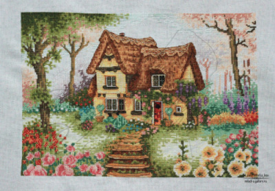 Вышивка домик анкор