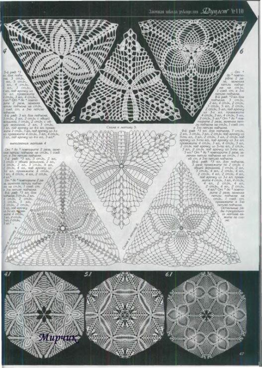 Триугольных мотивов ленточное вязание крючком