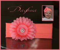 Модные шапочки и повязки с шикарными цветочками для наших принцесс.