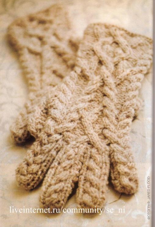 Перчатки с вязаным узором - фото. . Кэшбэк-сервис ЛетиШопс
