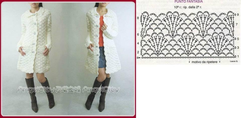 Фантазийный узор для вязания крючком пальто
