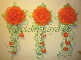 Цветы из ткани для декора штор и интертера.