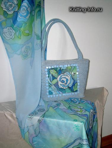 Вязаная сумка, расшита бисером, расписной шарф.